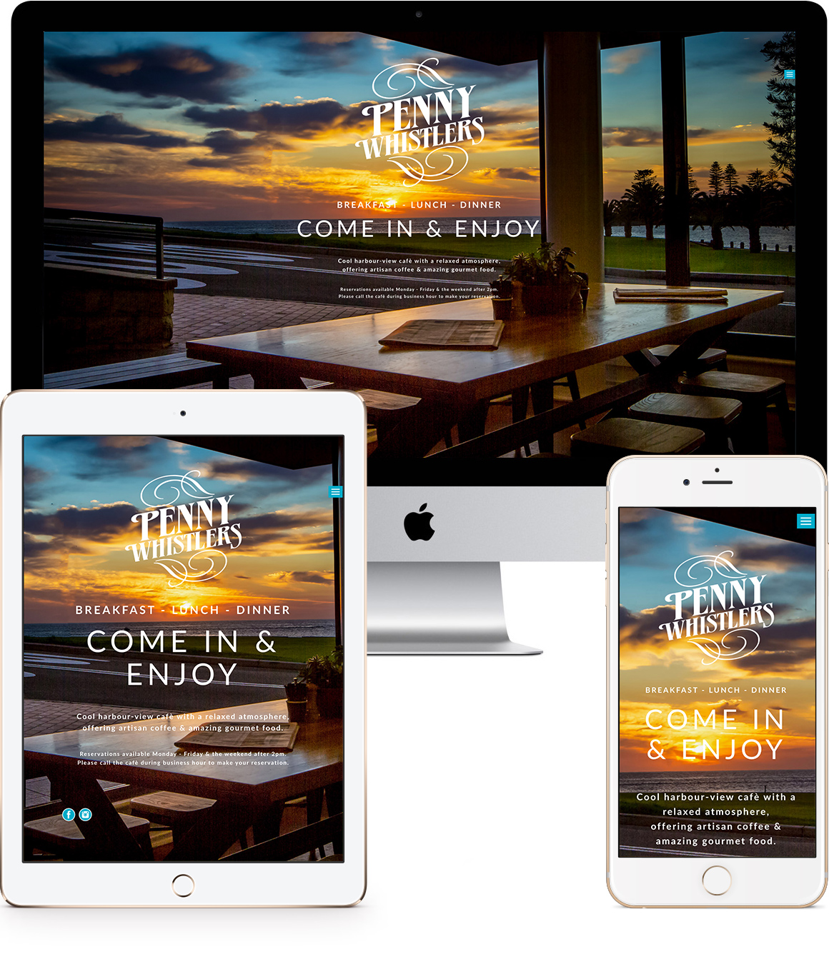 Penny Whistlers Café responsive website design