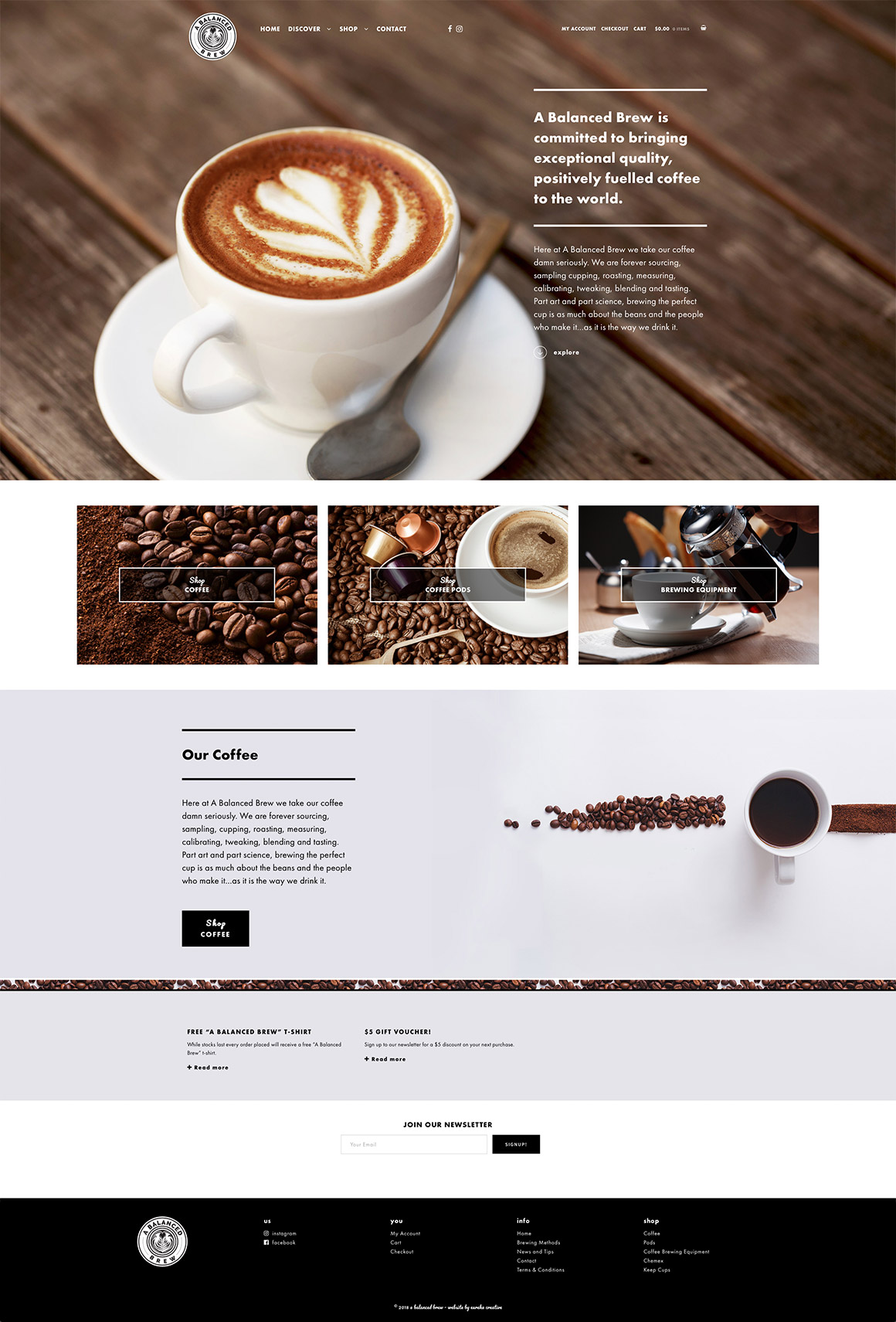 A Balanced Brew responsive eCommerce website design and development
