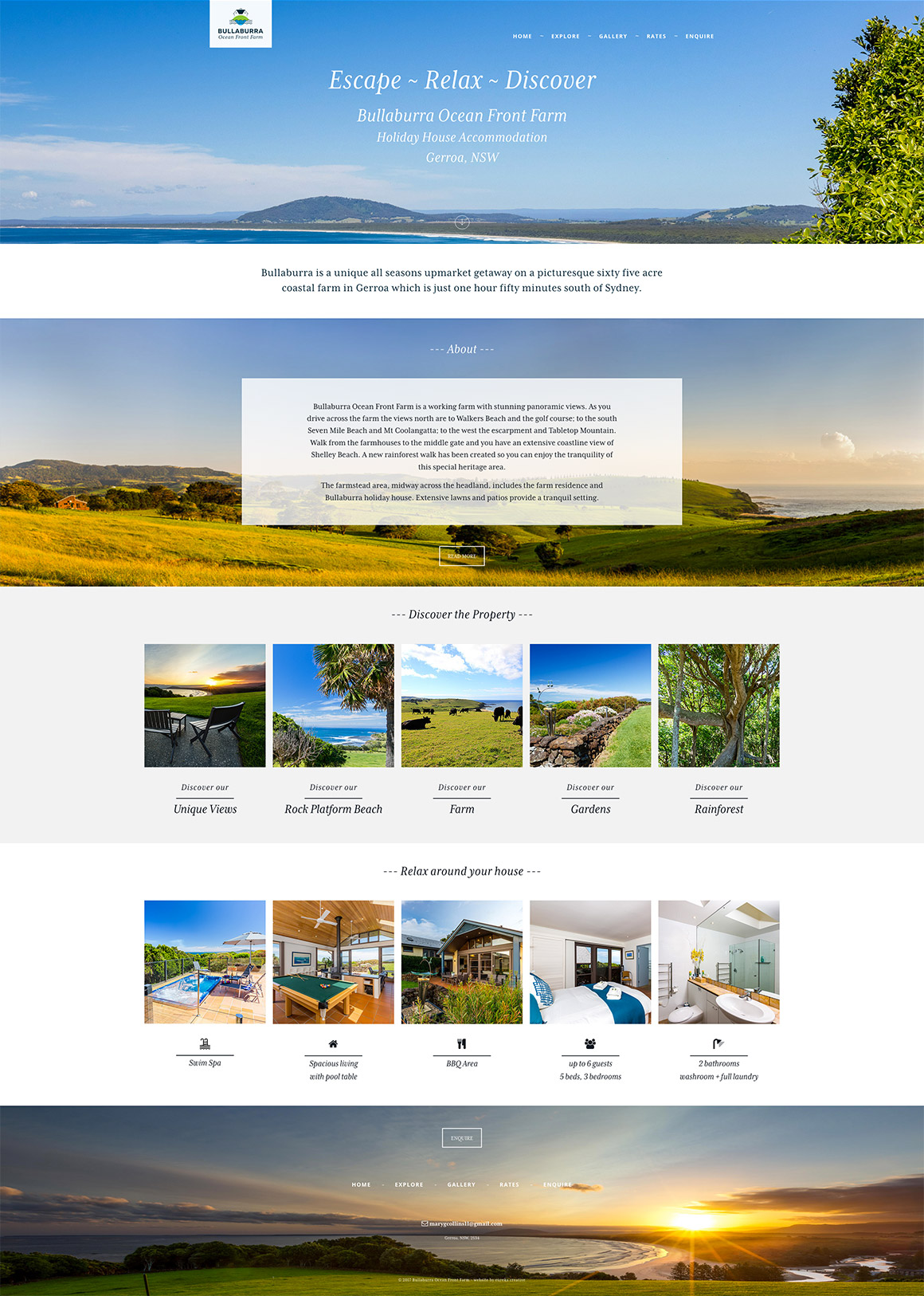 Bullaburra Ocean Front Farm website design and development