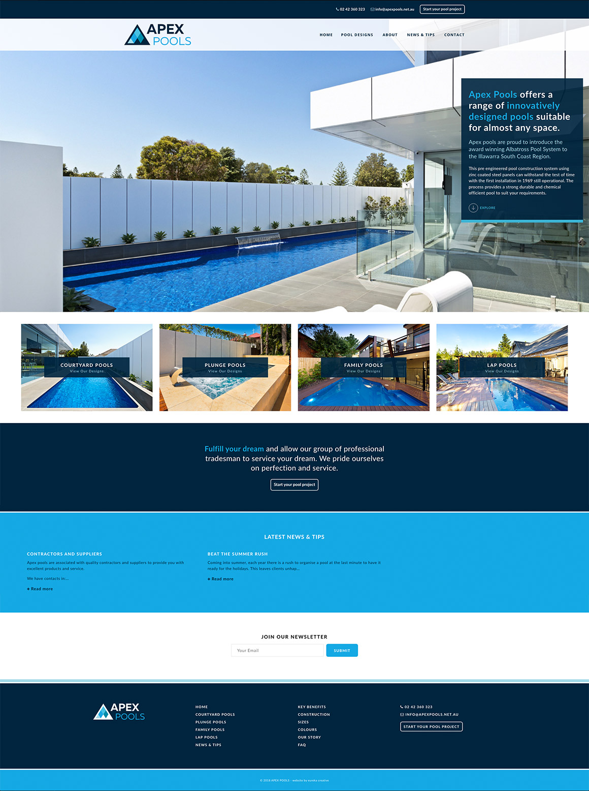 Apex Pools Responsive Website Design and Development