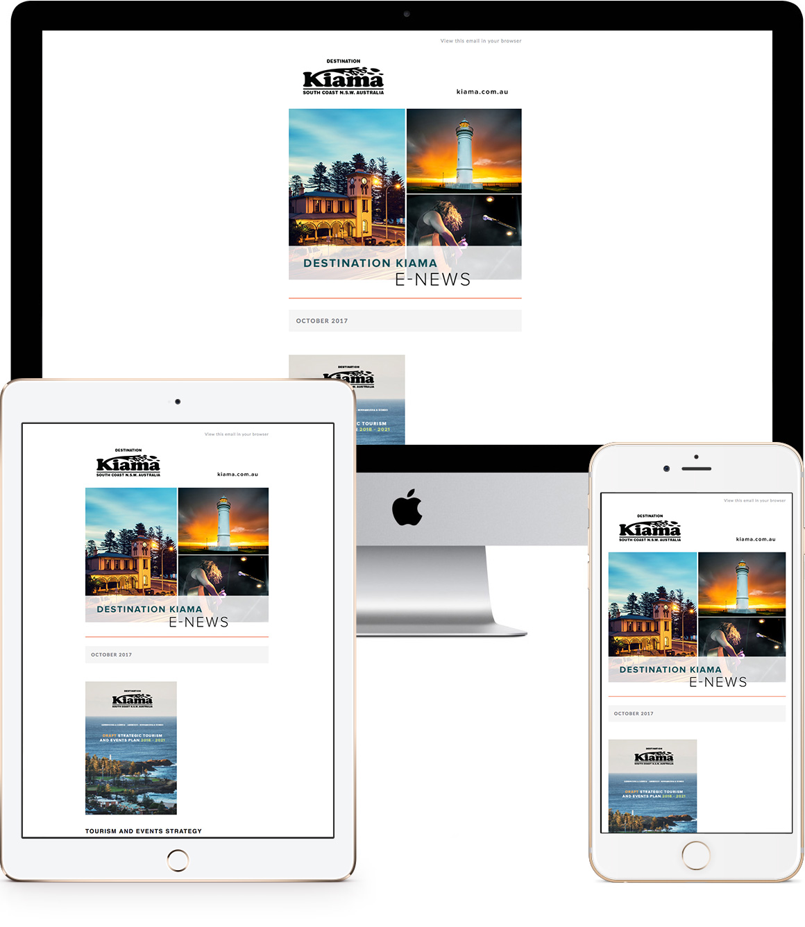 Destination Kiama eNewsletter design and development - Eureka Creative