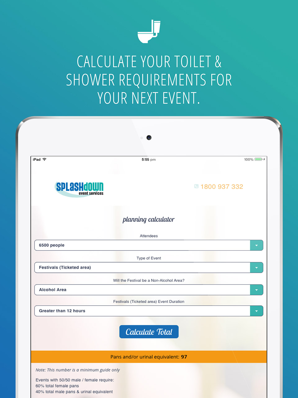 ToiletCalc App design and development by Eureka Creative